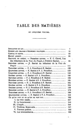 Bastiat oc vol5 1863 toc