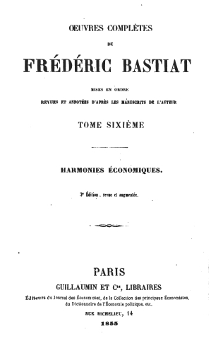 Bastiat oeuvres 1561.06 tp