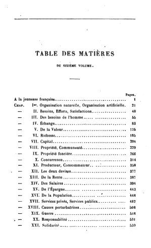 Bastiat oeuvres 1561.06 toc