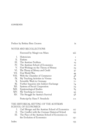 Mises recollections toc