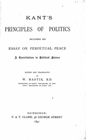 kants principles of politics including his essay on