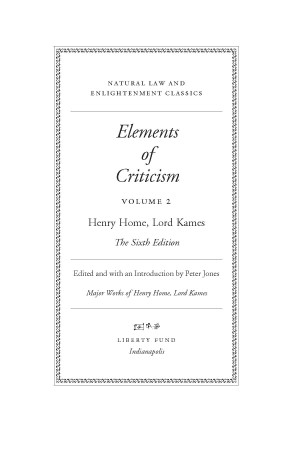 Elements Of Criticism Vol 2 Online Library Of Liberty