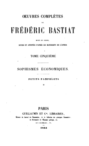 Bastiat oeuvres 1561.05 tp