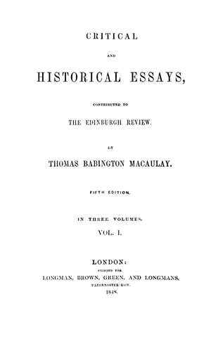 Critical And Historical Essays Vol 1 Online Library Of