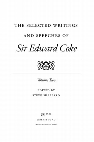 Selected Writings Of Sir Edward Coke Vol Ii Online